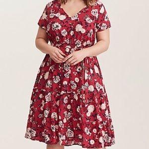 Torrid Pink Floral Challis Midi Dress sz 2